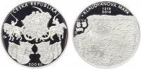 200 Kč(2018-500. výročí vydání Klaudyánovy mapy), stav PROOF, etue a certifikát