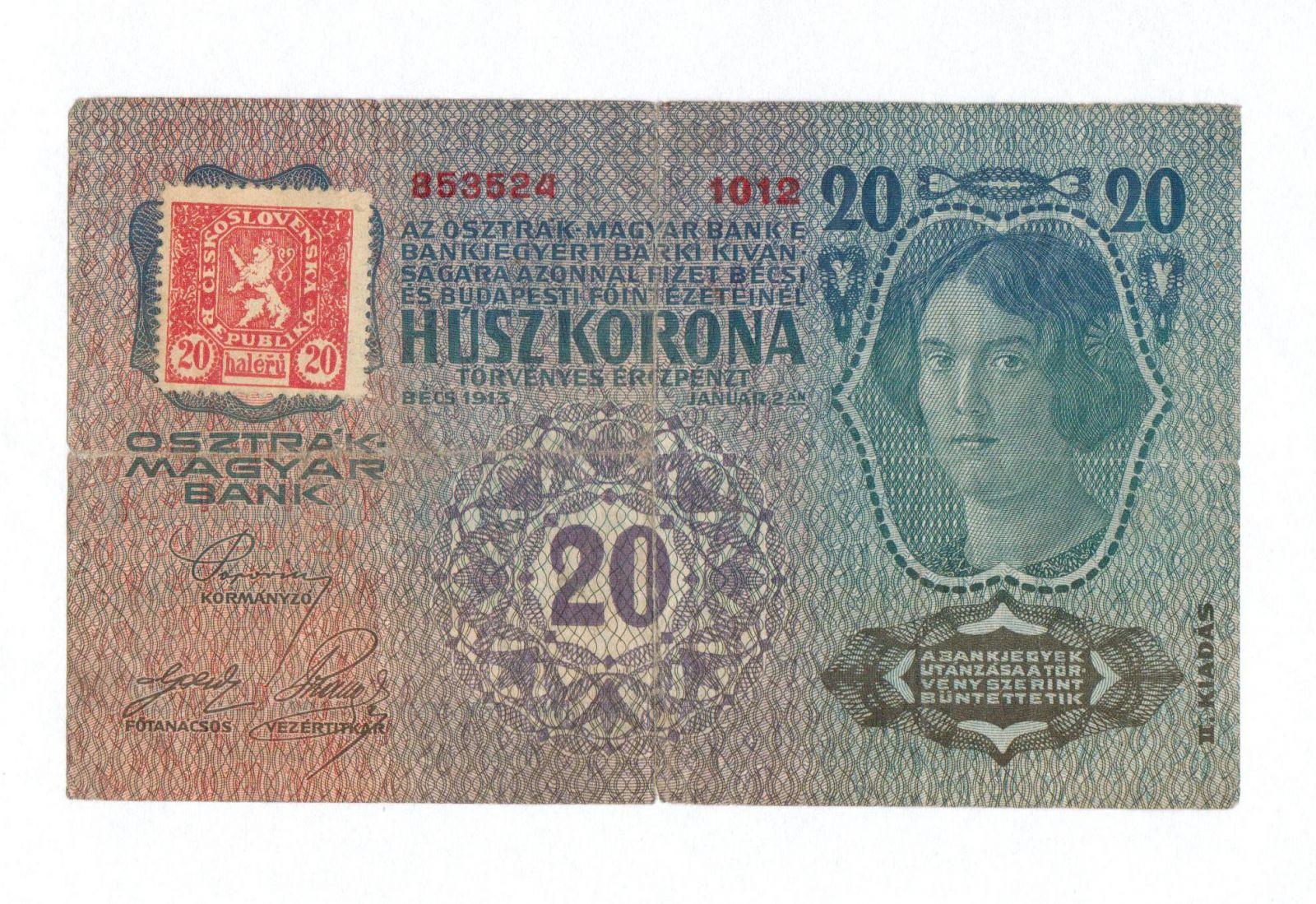 20Kč/1913-19, kolek ČSR/, stav 3-, II.vydání