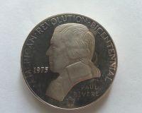 americká revoluce, Paul Revere, postříbřená medaile, USA