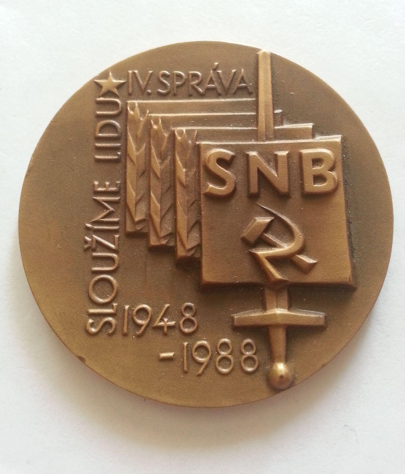 IV.správa SNB, jednostranná plaketa, ČSSR