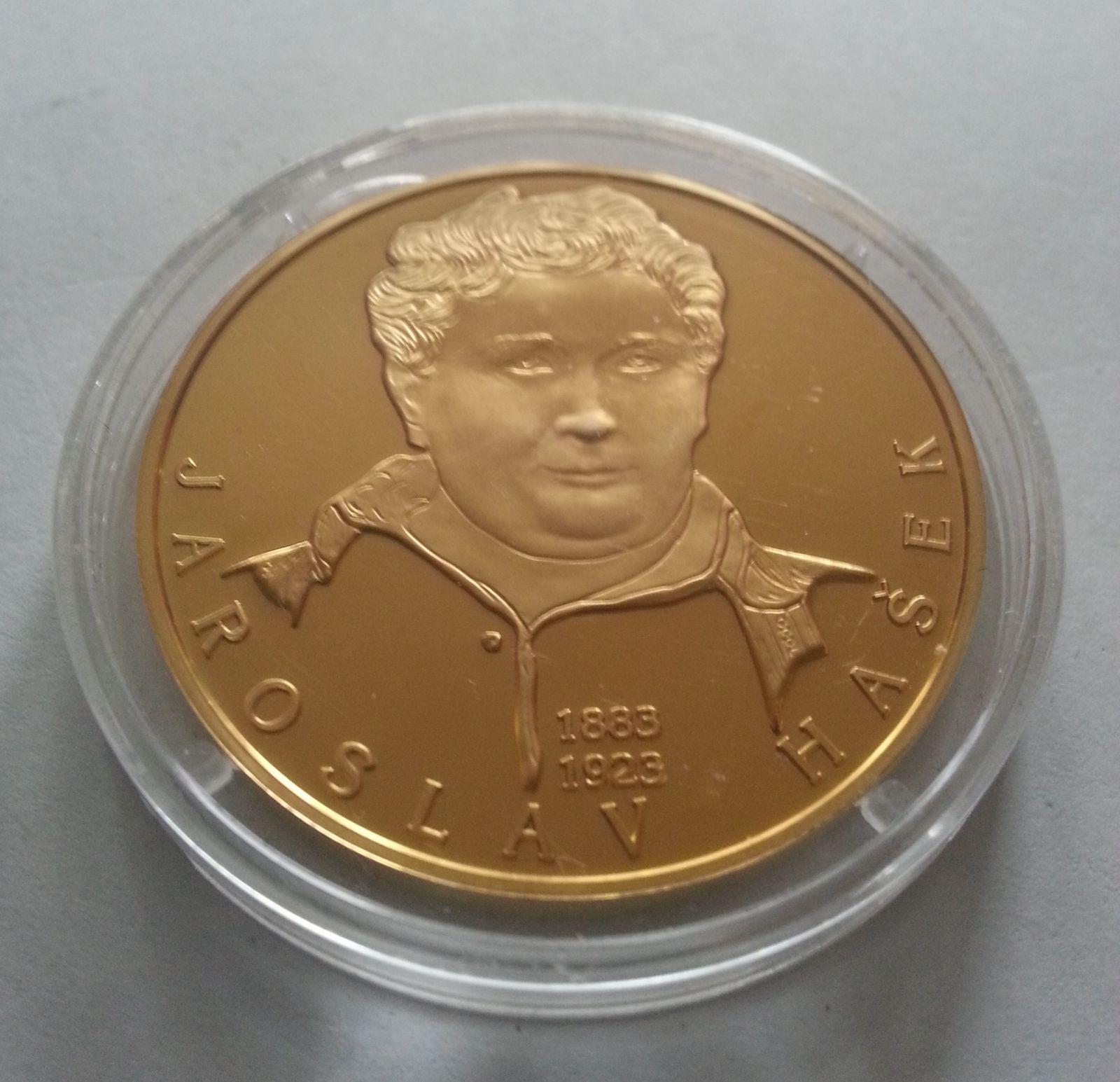 Jaroslav Hašek, zlacená medaile, (průměr 40mm), největší osobnosti, ČR