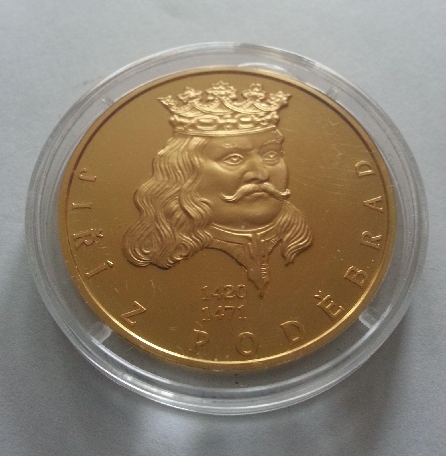 Jiří z Poděbrad, zlacená medaile, (průměr 40mm), největší osobnosti, ČR