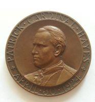 kardinál Hayes, 1924, (průměr 63 mm),Vatikán