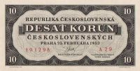KOPIE 10Kčs/1953-jednostranná/, stav UNC, nevydaná