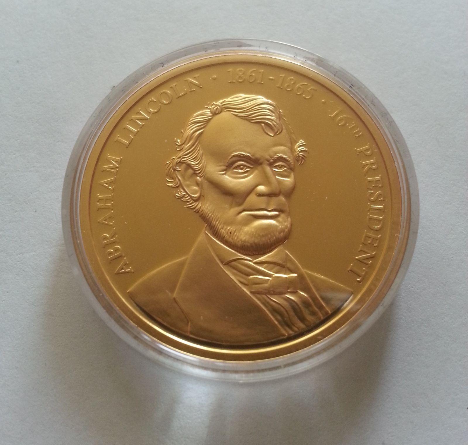 president Lincoln, zlacená medaile, USA