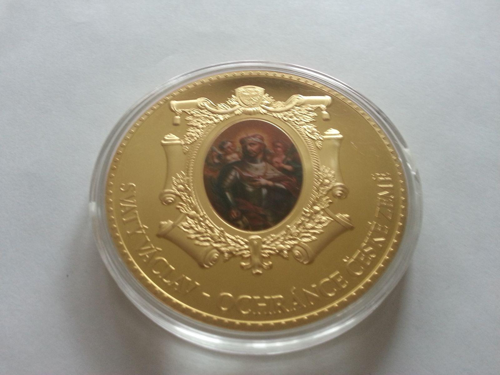 sv. Václav ochránce české země, (průměr 70mm), zlacená medaile, ČR