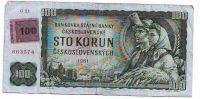 100Kč/1961-93, kolek ČR/, stav 3, série G 23, špatně střižený kolek
