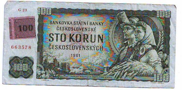 100Kčs/1961-93, kolek ČR/, stav 3, série G 23, špatně střižený kolek