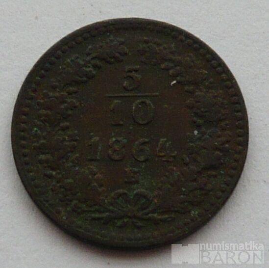 Rakousko 5/10 Krejcar 1864 B
