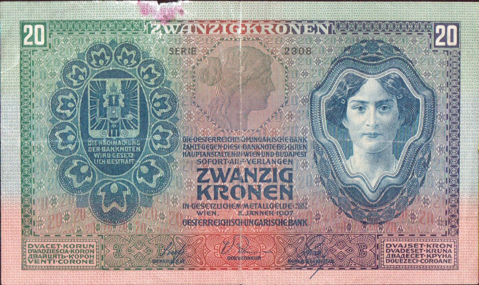 20K/1907/, stav 3- p.o., série 2308