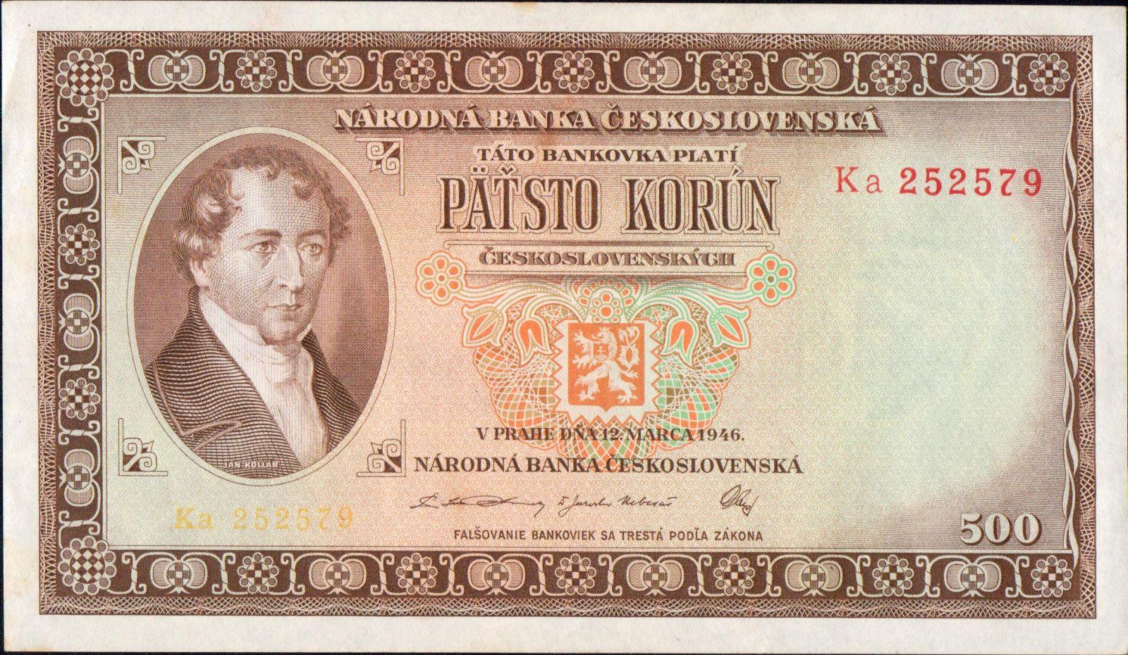 500Kčs/1946/, stav 0 (lehce ohnutý růžek), vzácná série Ka