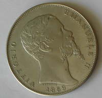 Itálie 5 Lir 1859 Viktor Emanuel novoražba
