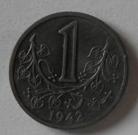 Protektorát Čechy a Morava 1 Kč 1942 STAV