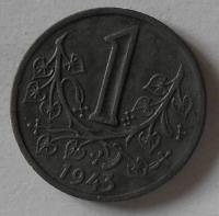 Protektorát Čechy a Morava 1 Kč 1943 STAV
