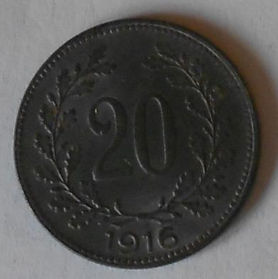 Rakousko 20 Haléř 1916 STAV