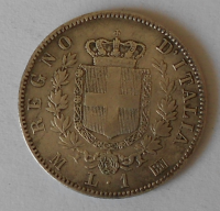 Itálie 1 Lira 1863 Viktor Emanuel II.
