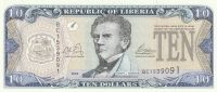 10 Dollars, Libérie, 2003