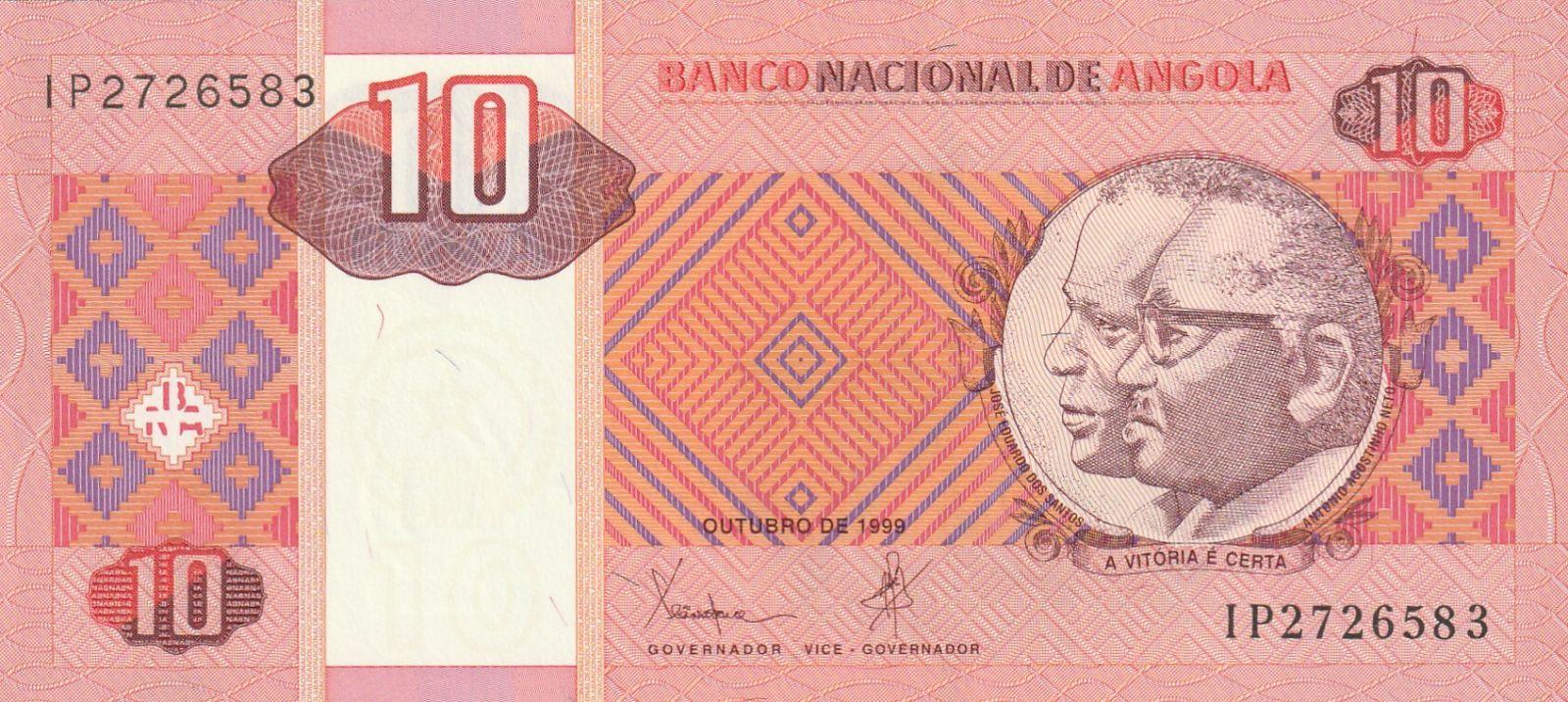 10 Kwanzas, Angola, 1999