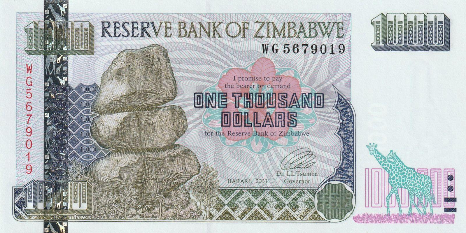 1000 Dollar, Zimbabwe, 2003