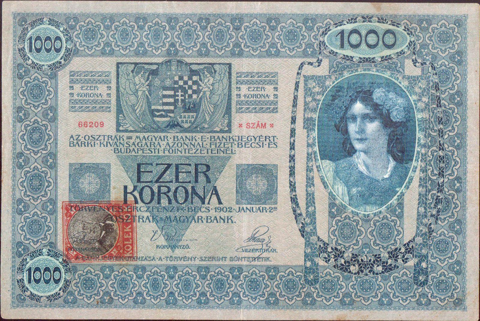 1000Kč/1902-18, kolek ČSR/, stav 1, série 1196, šedý podtisk