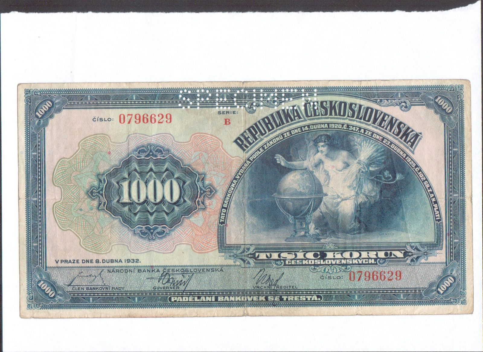 1000Kč/1932/, stav 3- perf. SPECIMEN, série B