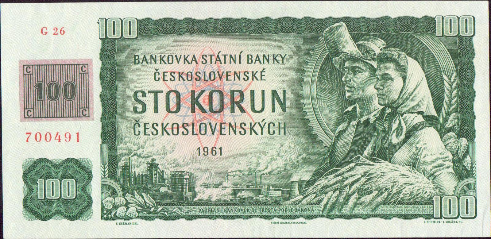 100Kč/1961-93, kolek ČR/, stav 1+, série G 26 (číslovač 2d)
