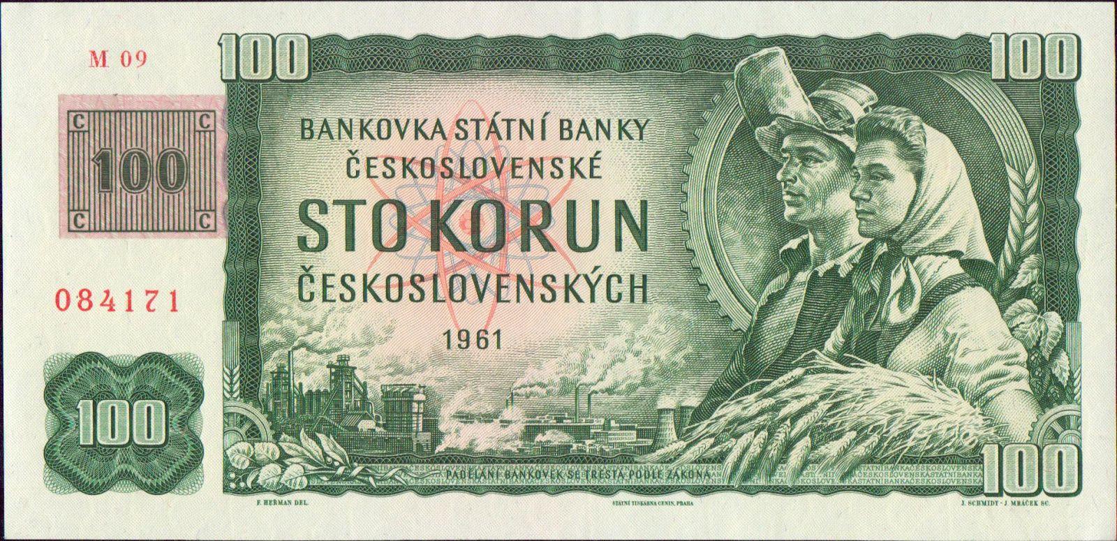 100Kč/1961-93, kolek ČR/, stav UNC, série M 09