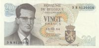 20 Franc, Belgie, 1964