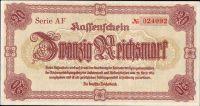 20 Reichsmark/1945-Liberec/, stav UNC, série AF, vzácná varianta číslovače - úzké No