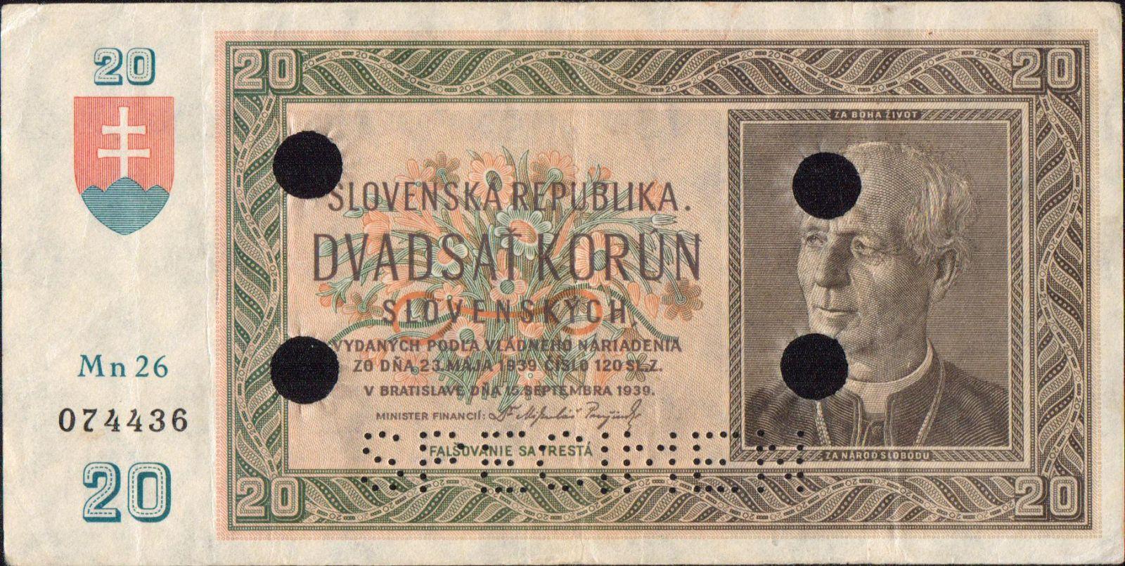 20Ks/1939/, stav 2+ perf. SPECIMEN a 4 otvor, série Mn 26
