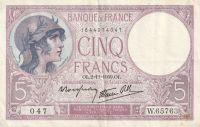 5 Franc, Francie, 1939