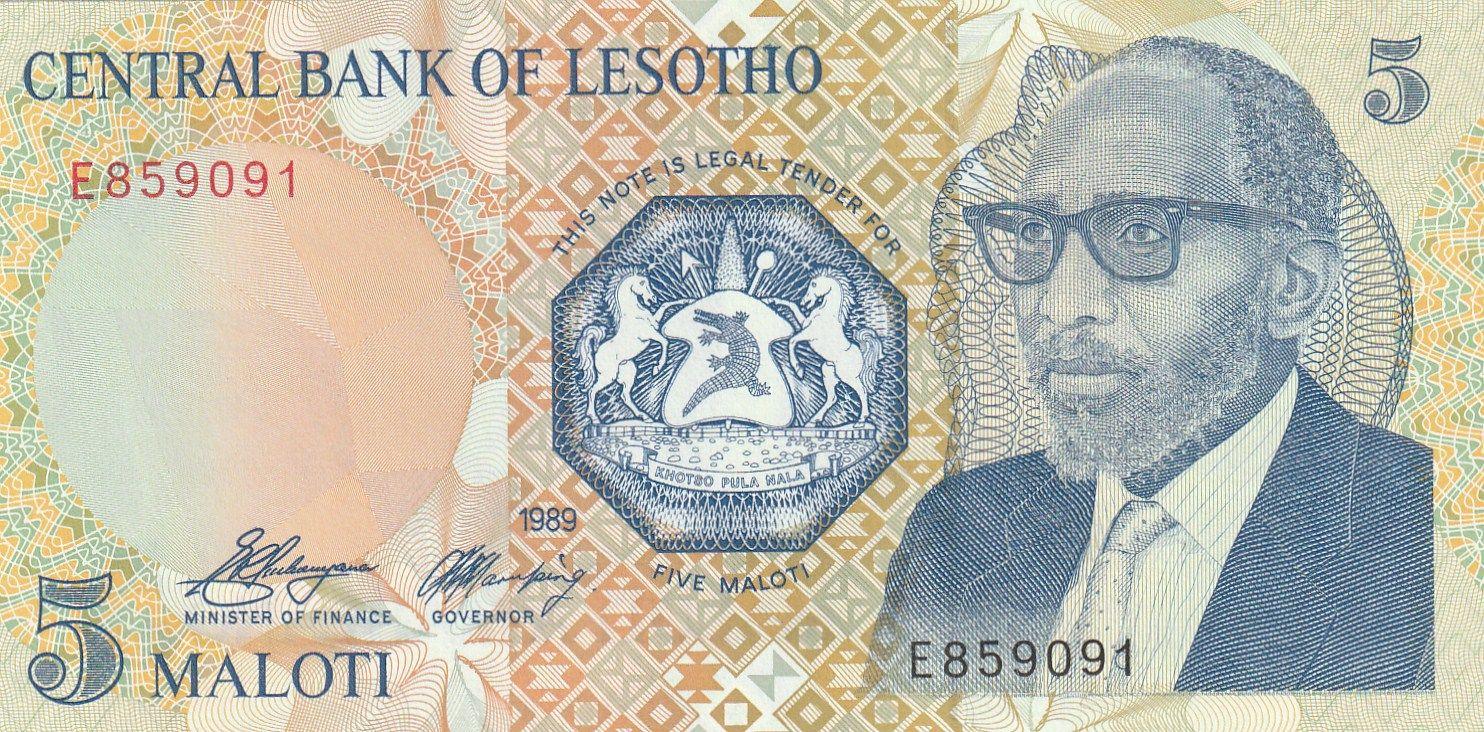 5 Maloti, Lesotho, 1989