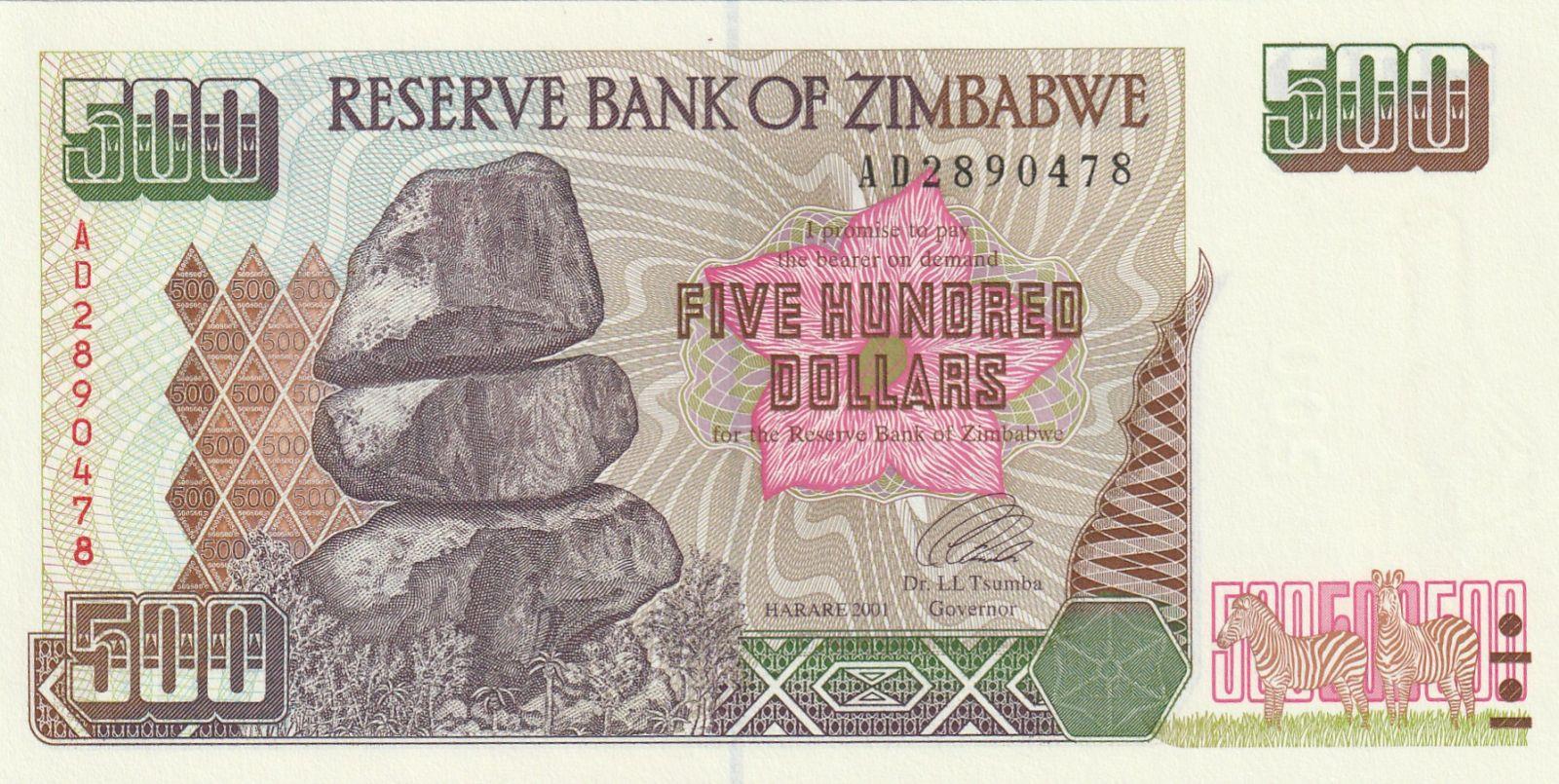 500 Dollar Zimbabwe, 2001