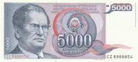 5000 Dinár, Jugoslávie, 1985