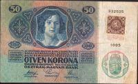 50Kč/1914-17, kolek ČSR/, stav 2, série 1005
