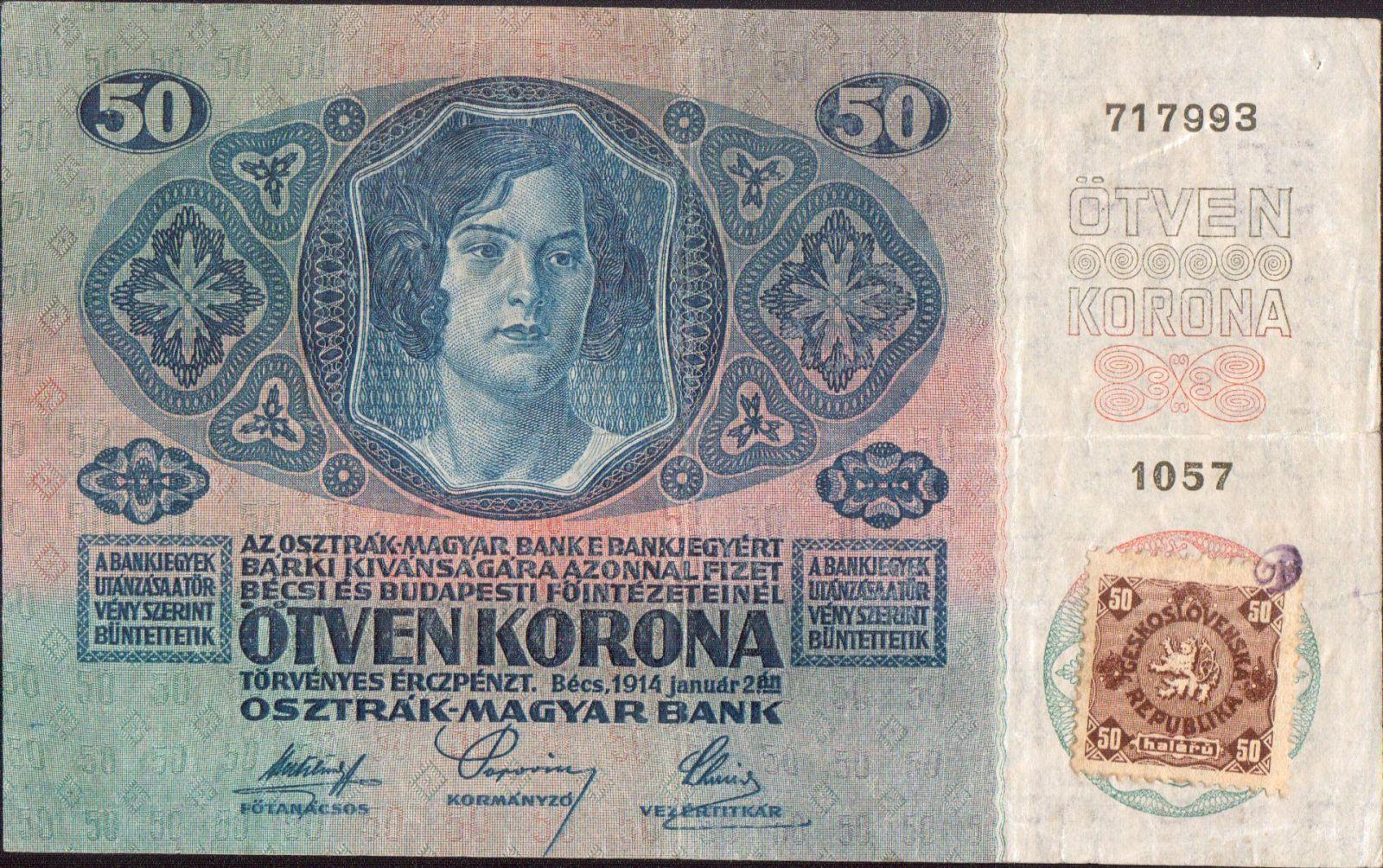 50Kč/1914-17, kolek ČSR/, stav 2-, série 1057, původní razítko označující pravost kolku - písmeno D