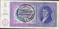 5K/1938-40/, stav UNC, série A 005, ruční přetisk