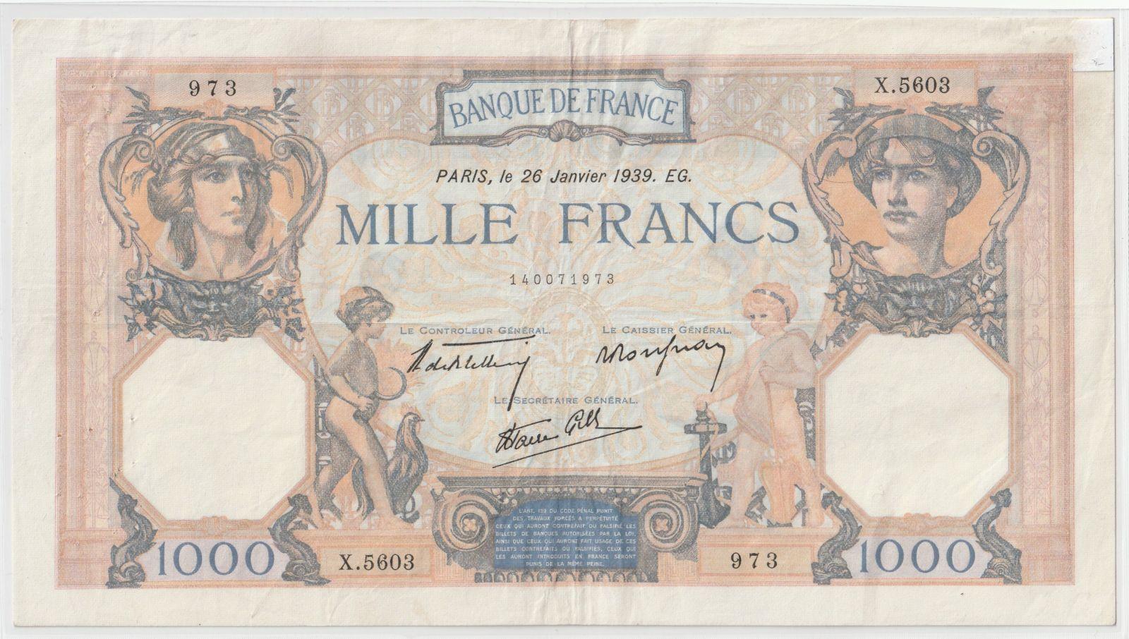 100 Franc, Francie, 1939