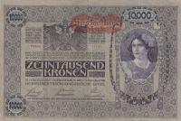 10000 Korun, Rakousko, 1918 razítko Deutch. Reich