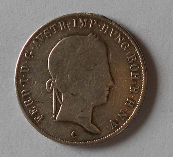 Čechy 20 Krejcar 1847 C Ferdinand V. Měl ouško