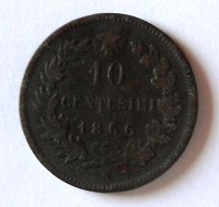 Itálie 10 Centesimi 1866 Vik. Emanuel