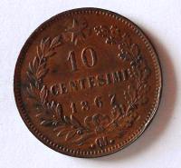 Itálie 10 Centesimi 1867 Vik. Emanuel