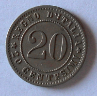 Itálie 20 Centesimi 1894 Vik. Emanuel