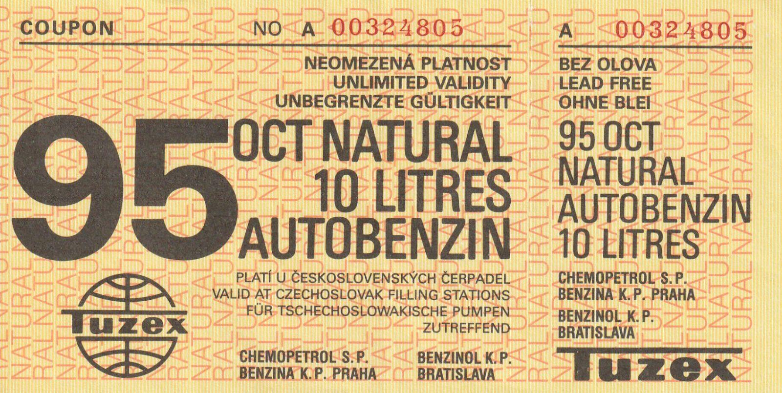 poukázka na 10 litrů benzinu ČSSR