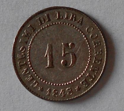 Rakousko 15 Centesimi 1848 Benátky Ferdinand V.