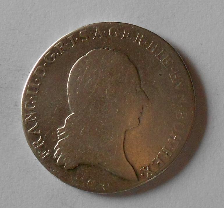 Čechy 1/2 Tolar 1779 C František II. Křížový, dobové ouško