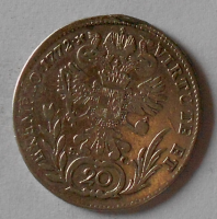 Rakousko 20 Krejcar 1772 H Josef II. Měl ouško