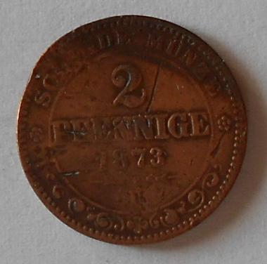 Sasko 2 Pfenig 1873