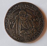 Sasko Tolar 1584 dobové falzum 28,47 gr.