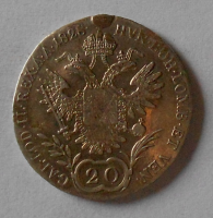 Uhry 20 Krejcar 1828 B František II. Měl ouško